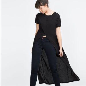 Zara Long T-Shirt w Front Vent